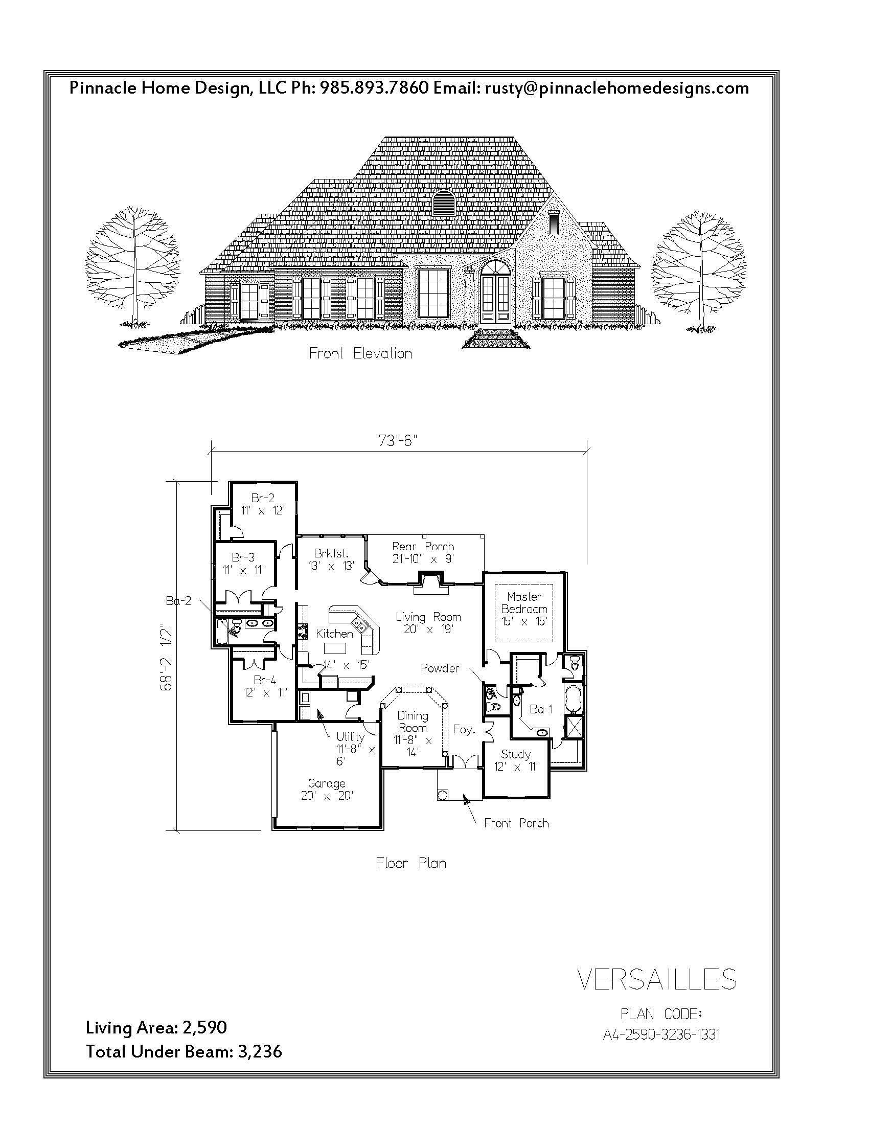 Pinnacle home designs the versailles floor plan pinnacle for Versailles house floor plan