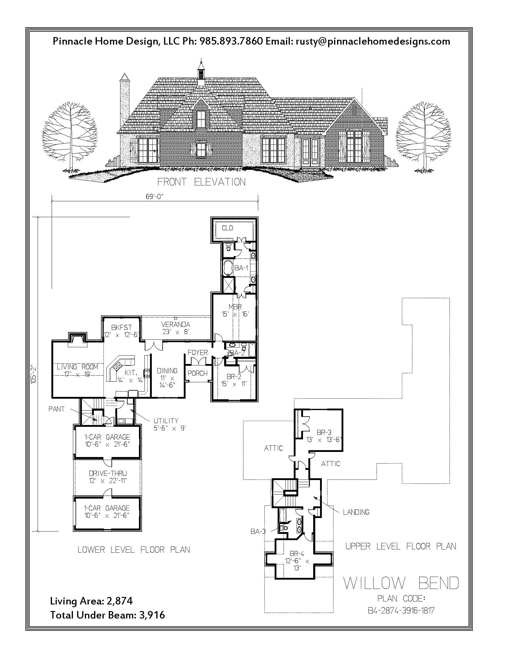 Pinnacle home designs the willow bend floor plan for The willow house plan